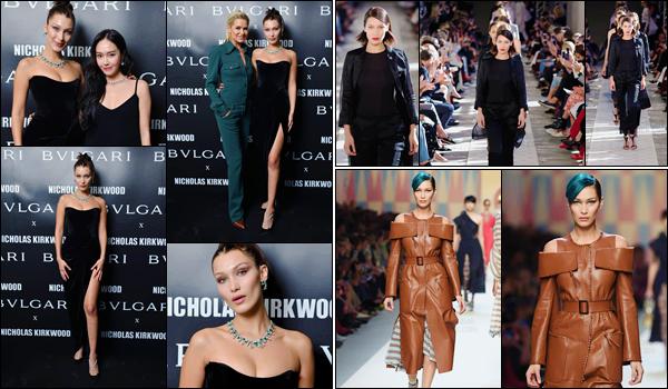 -'-21/09/17-'''✈''Bella Hadid défilait pour la nouvelle collection de « FENDI » à la Fashion-Week 2018 de Milan ! Le même jour, Bella a aussi défilé pour le créateur Max Mara. La veille, en soirée, notre égérie de Bulgari était présente à leur soirée avec Yolanda Hadid.-