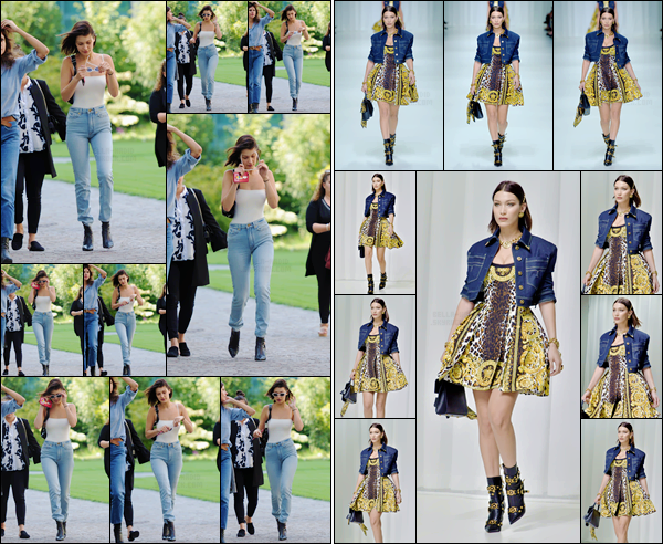 -'-22/09/17-'''✈''Bella Hadid défilait pour la nouvelle collection de « Versace » à la Fashion-Week 2018 de Milan. Bella a été photographiée à son arrivé sur les lieux du défilé de la prestigieuse marque avec ses amis. Tout comme sa s½ur, elle a rejoint le podium. Top.-