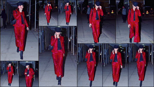 '- '- 09/11/17 -'''◊''Bella Hadid a été photographiée alors qu'elle se trouvait dans les rues de la ville de New York. C'est un look total red que la mannequin américaine aborde cette fois-ci lors de cette sortie nocturne en ville. Pour ma part, c'est un gros coup de c½ur.-