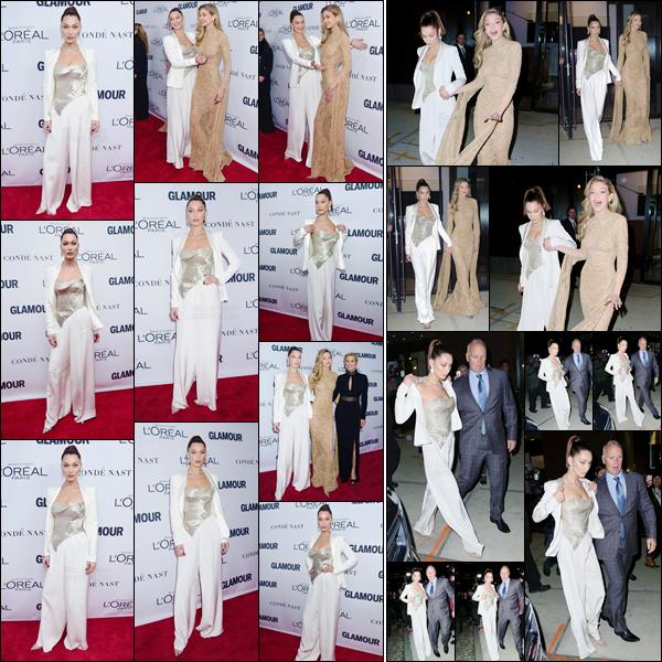 '- '- 13/11/17 -'''◊''Bella Hadid était présente aux « Glamour Women of the Year Awards » qui se tenait à Brooklyn. Les trois femmes de la famille Hadid étaient présentes lors de cette cérémonie à l'honneur de la gente féminine. Habillée sobrement, Bella était sublime !-