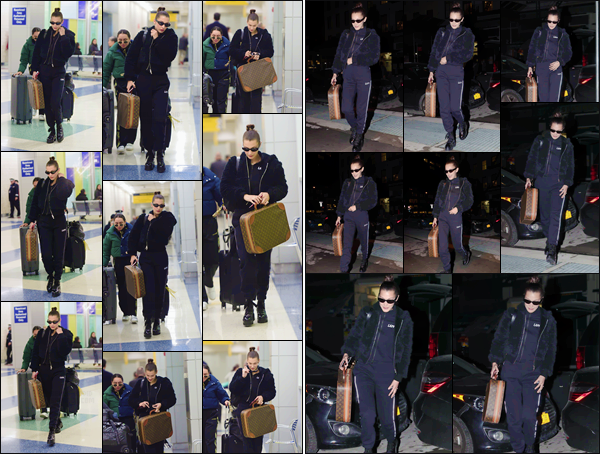 '- '-•-10/12/17 -'''─''Bella Hadid se trouvait à l'aéroport de « JFK » pour ensuite se rendre à son appartement, à Manhattan. Après un court séjour dans la belle ville de Londres, en compagnie de sa meilleure amie Ally, notre belle brune est de retour chez elle pour un moment !-