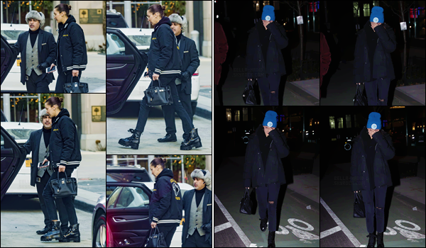 '- '-•-13/12/17 -'''─''Bella Hadid quittait un restaurant, en compagnie de son amie Hailey Baldwin, dans la ville de New York. Plus tard, la belle mannequin a été photographiée le bonnet sur la tête et toute seule dans les rues de New York, pour rentrer chez elle. Un top ou flop ?-