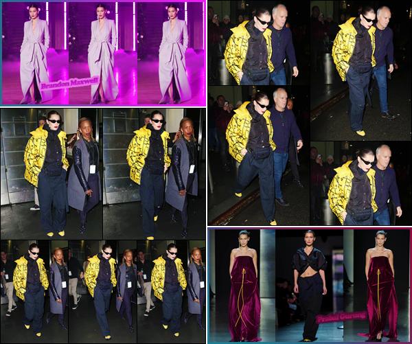 '- '-◊-11/02/18-' : Bella Hadid quittait le défilé de « Brandon Maxwell » lors de la Fashion-Week '18 de New York. Le même jour, Bella Hadid tout comme sa grande s½ur, a défilé pour la marque Prabal Gurung dans le cadre de la Fashion-Week de 2018. Un gros flop !-