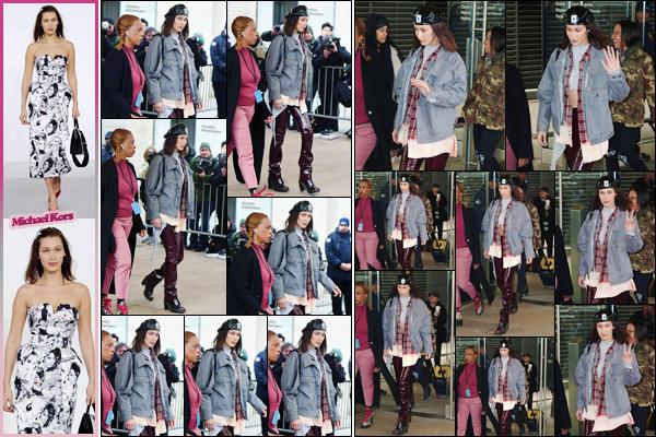'- '-◊-14/02/18-' : Bella Hadid défilait pour la marque de « Michael Kors » à la Fashion-Week 2018, de New York. Par la suite, Bella Hadid a été photographiée alors qu'elle quittait les lieux du défilé de la nouvelle collection du créateur Michael Kors. C'est un petit top !-