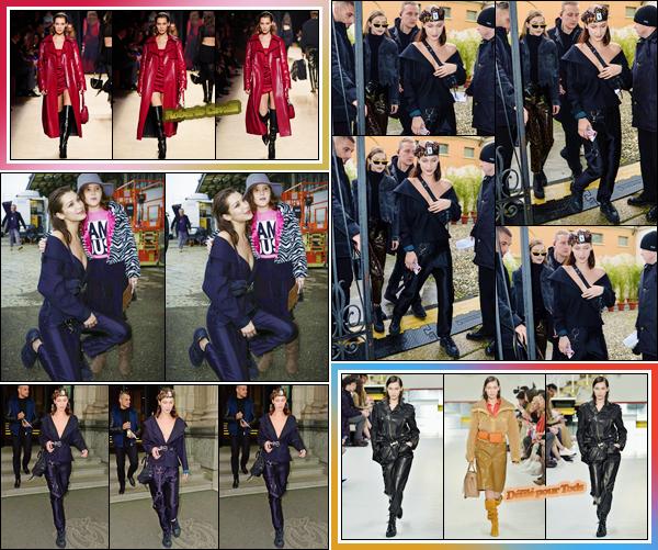 '- '-◊-23/02/18-' : Bella Hadid défilait cette fois pour la marque « Roberto Cavalli » à la Fashion-Week de Milan. Cette même journée, Bella a aussi défilé pour la marque italienne Tods, tout comme sa s½ur, avec qui elle s'est rendue dans les bureaux de : Missoni !-