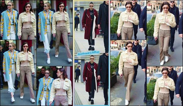 '- '-◊-21/02/18-' : Bella Hadid quittait les essayages pour le défilé de « Moschino » avec Gigi Hadid, dans Milan. Bella Hadid et sa grande s½ur prendront part à deux défilés aujourd'hui. La Fashion-Week de Milan commence en beauté pour les Hadid ! Un petit top.-