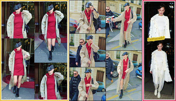 '- '--28/02/18-' • Bella Hadid se rendait dans les locaux de la marque « Dior » se trouvant dans la ville de Paris. La veille au soir ainsi que plus tôt dans la matinée ce jour-là, Bella Hadid a été photographiée alors qu'elle quittait l'hôtel « Le Royal Monceau ». Un top !-