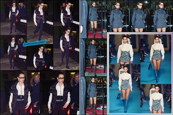 '- ''-01/03/18-' • Bella Hadid se rendait à la soirée de « LVMH Prize Cocktail » se déroulant dans la ville de Paris. Bella Hadid a été aperçue en quittant son hôtel pour se rendre à la soirée. De plus, elle a défilé pour la marque « Off-White » dans Paris !-