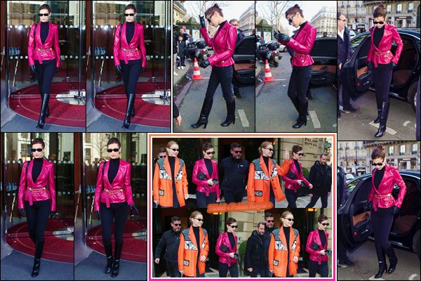 '- ''-03/03/18-' • Bella Hadid se rendait au restaurant « Café de Flore » avec sa grande s½ur Gigi Hadid à Paris. Les deux Hadid on d'abord été aperçues alors qu'elles quittaient l'hôtel « Le Royal Monceau » dans le même quartier. C'est un beau top !-