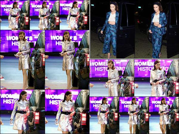 '- '-14/03/18-' • Bella Hadid se rendait au restaurant américain « SoHo House » qui se trouve à West Hollywood. En soirée, Bella Hadid s'est rendue à la soirée de « Dior Addict Lacquer Pump Lunch Party », toujours à West Hollywood. Deux gros tops !-