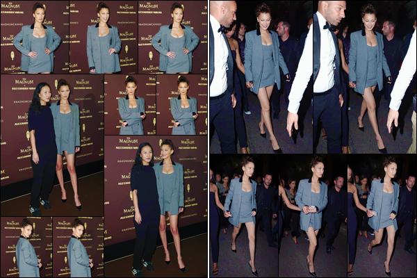 - ''•-10/05/18-' : Bella Hadid se rendait à l'after-party de  : « Magnum x Alexander Wang », dans la ville de Cannes. Notre brunette est déjà très active dans la ville de Cannes, à l'occasion du grand festival. Un autre petit top pour la tenue de Bella Hadid ! -