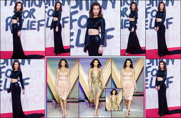 - ''•-13/05/18-' : Bella Hadid participait au grand défilé « Fashion For Relief » à l'occasion du Festival de Cannes. Aux côtés de Naomi Campbell et de Jussie Smollet, notre brunette a défilé sur le podium, dans deux robes différentes. C'est un gros top ! -