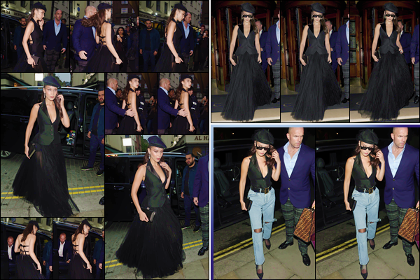 - ''•-29/05/18-' : Bella Hadid se rendait au restaurant de « Lou Lou's », qui se trouve dans le quartier de Mayfair. C'est à l'occasion de l'événement pour Dior Backstage, que Bella Hadid quittait son hôtel pour se rendre à la soirée dont elle était mise à l'honneur ! Top. -