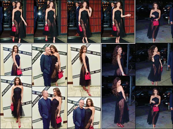 - ''•-07/06/18-' : Bella Hadid se rendait à la soirée de « Dior Backstage Collection Dinner » ayant lieu à New York. De retour de ses deux jours au Mexique, à l'occasion d'un photoshoot avec le magazine de Vogue Mexico. La belle quittait l'hôtel The Bowery à New York. -