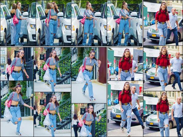 - ''•-02/06/18-' : Bella Hadid quittait les lieux du restaurant « Bar Pitti », qui se trouve dans la ville de New York. Dès son arrivée, Bella s'est rendue dans les locaux du créateur Alexander Wang pour procéder à des essayages de vêtements, pour sa nouvelle collection. -