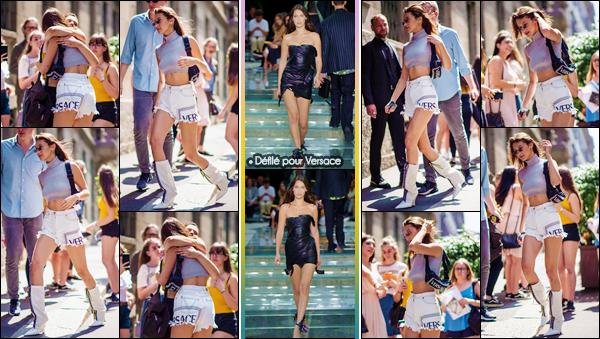 - ''•-16/06/18-' : Bella Hadid défilait pour la collection de « Versace's SS19 Men's Show » se déroulant dans Milan. D'abord accueillie par plusieurs fans devant les lieux du défilé de la prestigieuse marque italienne Versace, Bels fut époustouflante sur le podium de verre. -