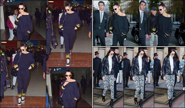 '- '-◊-27/10/16-' : Bella Hadid quittait l'aéroport « Charles De Gaulle » pour se rendre à son hôtel à Paris, France. Par la suite, Bella Hadid a été photographiée en arrivant à l'hôtel parisien, le George V, qu'elle a ensuite quitté dans une toute autre tenue. Un petit top !-