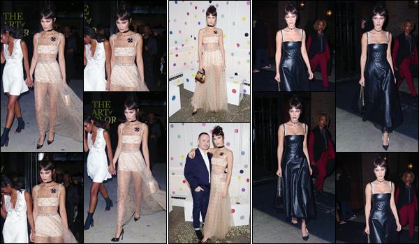 '- '-◊-25/10/16-' : Bella Hadid se rendait au lancement du livre « Dior, The Art of Color » dans la ville de New York. Part la suite la brunette s'est rendue à l'after-party organisé par Dior. Niveau tenue, Bels nous offre un look assez étrange pour assisté au lancement. Bof.-