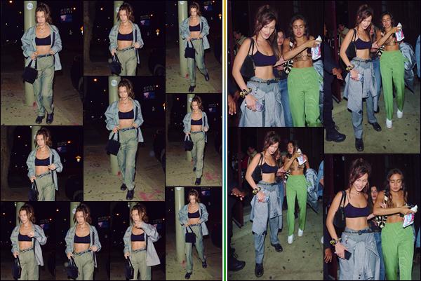 - ''•-28/08/18-' : Bella Hadid se rendait dans le night-club de « Peppermint » qui se trouve dans West Hollywood. Bella Hadid se rendait au concert de son amie Jess Jo Stark, qui avait lieu dans le night-club californien. Pour ma part, j'accorde un gros top à Baby Bels ! -