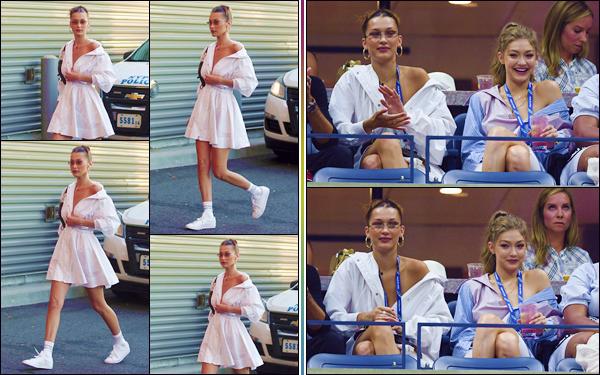 - ''•-04/09/18-' : Bella Hadid se rendait au grand stade « Billie Jean King National Tennis Center » de New York. En compagnie de sa grande s½ur Gigi Hadid, la belle brune assistait au « US Open Tennis Tournament », qui avait lieu dans la ville de New York. Top ! -