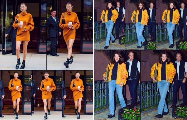 - '-• 08/10/18-''─ Bella Hadid a été photographiée en quittant l'appartement de sa grande s½ur dans Manhattan. La jolie mannequin, affublée d'une tenue orange, s'est ensuite rendue à son propre appartement, qui se trouve aussi à New York. Joli top. -