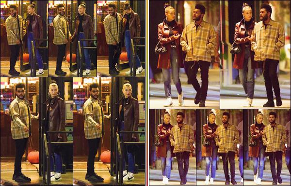 - '-• 10/10/18-''─ Bella Hadid a été photographiée avec son petit ami Abel Tesfaye, dans le quartier de Tribeca. Alors que la belle mannequin avait célébré son anniversaire, en compagnie de son amoureux et de son entourage, ils sont inséparables ! -