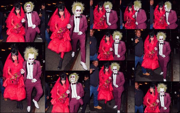 - '-• 31/10/18-''─ Bella Hadid se rendait à la soirée d'Halloween d'Heidi Klum avec The Weeknd dans New York. Le couple ne peut que me ravir en étant déguisés comme les personnages de mon film préféré, c'est-à-dire en Lydia Deetz et Beetlejuice. -