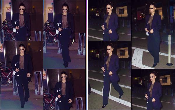 - '-• 04/11/18-''─ Bella Hadid a été photographiée en quittant les locaux de « Victoria's Secret » dans New York. C'est en soirée que l'on retrouve la jeune mannequin dans un look total black, qui dévoile les attributs féminins de notre Bella Hadid. Top. -