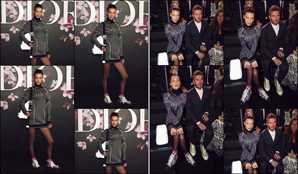 - '-• 30/11/18-''─ Bella Hadid assistait au défilé de « Dior Pre-Fall 2019 Men's Collection » ayant lieu dans Tokyo. C'est aux côtés de David Beckham que la jeune mannequin était placée dans le front-row de la présentation de la nouvelle collection Dior. -