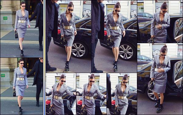 - '-• 12/01/19-''─ Bella Hadid a été photographiée lorsqu'elle quittait un hôtel se trouvant dans la ville de Milan. Cette fois dans une tenue différente, la mannequin quittait une voiture avec son personnel pour se rendre dans un immeuble dans la ville. -