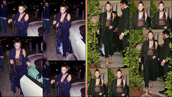 - ''•-05/11/16-' : Bella Hadid se rendait au restaurant : « Delilah », qui se trouve dans le coin de West Hollywood. Photographiée en arrivant puis en quittant les lieux, Bella Hadid a rapidement été entourée de ses fans à l'extérieur. J'accorde un joli top. -