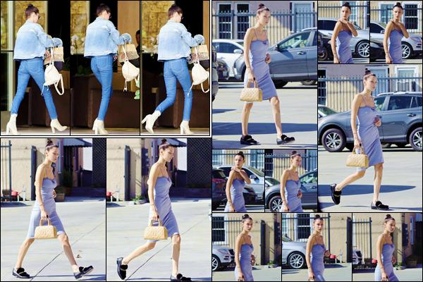 - ''•-09/11/16-' : Bella Hadid se rendait sur les lieux d'un nouveau photoshoot, dans la ville de Los Angeles (CA). La veille, notre belle mannequin a été photographiée dans le quartier de Beverly Hills. À cette occasion, je lui accorde deux très jolis top ! -