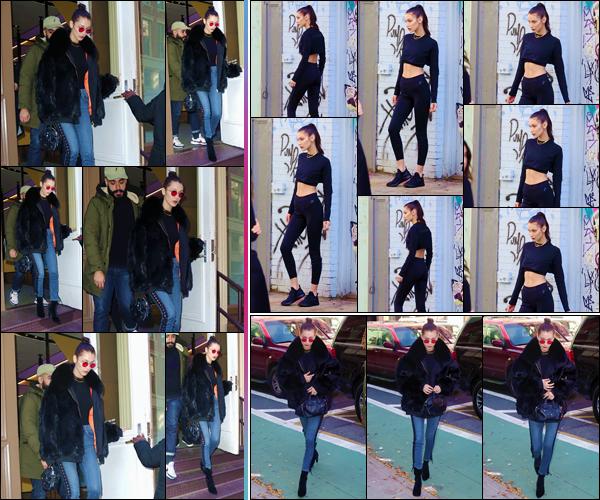 - ''•-14/11/16-' : Bella Hadid quittait la boutique : « Nike Lab », qui se trouve situé dans le quartier de Manhattan. Notre belle brune a ensuite été aperçue sur les lieux d'un photoshoot, possiblement pour une marque sportive. Je lui accorde un gros top. -