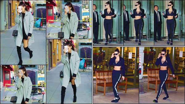 - ''•-16/11/16-' : Bella Hadid se rendait à son appartement pour ensuite en sortir, dans le quartier de Manhattan. Après un changement de tenue pour mettre de vêtement adéquats pour le sport, B. Hadid a été aperçue en quittant le « Gotham Gym » ! -