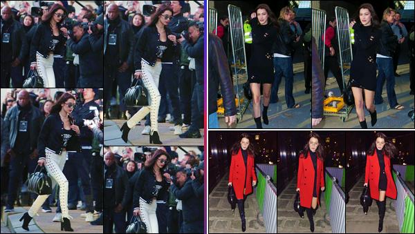 - ''•-28/11/16-' : Bella Hadid a été aperçue en se rendant au « Grand Palais » qui se trouve dans la ville de Paris. En prévision du défilé de la marque « Victoria's Secret » qui se déroule cette année à Paris, Bella Hadid se rendait aux répétitions. Top ! -