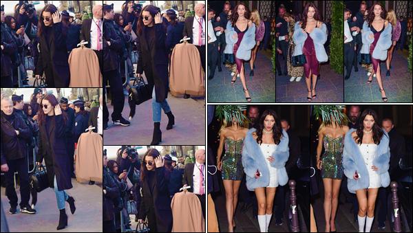 - ''•-30/11/16-' : Bella Hadid se rendait au « Grand Palais » à Paris, pour le défilé 2016 de Victoria's Secret le soir. En soirée Bella a été photographiée en quittait l'hôtel « Mandarin » avec Kendy Jenner, puis en se rendant au restaurant « Ferdi » à Paris. -