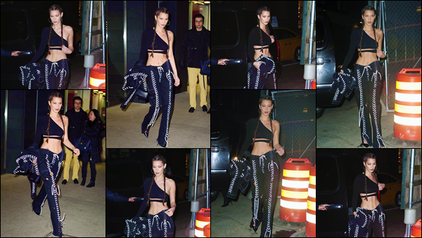 - ''•-16/12/16-' : Bella Hadid se rendait à la petite soirée : « The Paper Magazine Party », dans la ville de New York. Quittant d'abord son appartement dans la ville de Manhattan, la belle brune s'est exhibée dans les rues de New York dans une tenue sexy. -