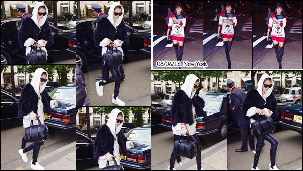 - ''•-04/06/16-' : Bella Hadid arrivait à son hôtel « Le Royal Monceau », se trouvant dans la ville de Paris, France. Quelques jours plus tard Bella Hadid a été photographiée dans les rues de la ville de New York dans une robe de  la marque « Moschino ». -