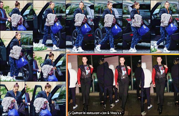 - ''•-04/01/17-' : Bella Hadid quittait sa voiture, dans un des stationnements de la ville de Beverly Hills - en CA. Le soir même, Bella Hadid a été photographiée alors qu'elle quittait le restaurant Jon & Vinny's qui se trouve à Los Angeles. Je lui accorde un petit top ! -