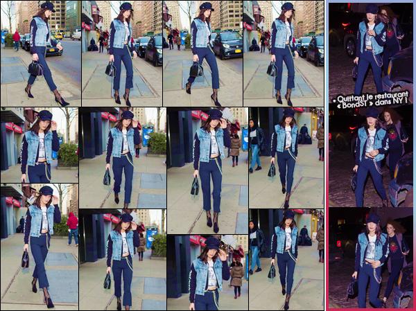 - ''•-13/01/17-' : Bella Hadid a été photographiée alors qu'elle quittait son appartement, situé dans Manhattan. En soirée, la belle mannequin s'est rendue au restaurant de cuisine japonaise BondST qui se trouve aussi dans New York. Un gros top pour cette tenue. -