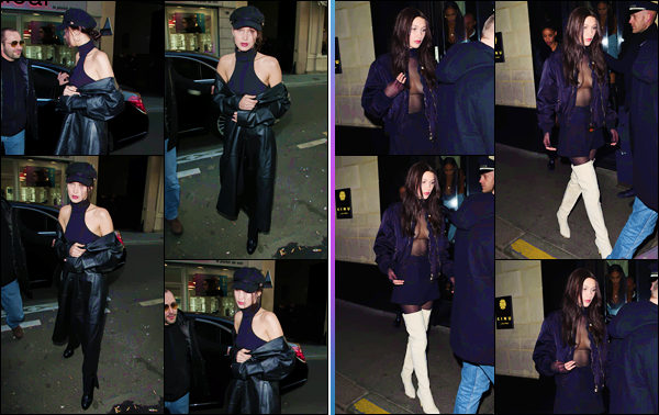 - ''•-20/01/17-' : Bella Hadid quittait le restaurant japonais de « Kinugawa » le soir même, dans la ville de Paris. En journée a eu lieu les essayages pour la marque Givenchy, pour qui B. défilera prochainement. Elle a été photographiée en arrivant à l'hôtel Geroge V. -