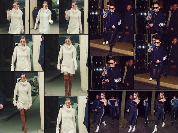 - '-• 24/01/17-''─ Bella Hadid quittait son hôtel parisien : « George V », qui se trouve situé dans la ville de Paris. En soirée, la belle et son amie Kendall Jenner se rendait à la boîte de nuit « Heritage » après avoir quitté l'hôtel où réside notre Baby Bels. -