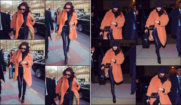 - '-• 27/01/17-''─ Bella Hadid arrivait à l'hôtel Four Seasons nommé « George V » toujours dans la ville de Paris. Le soir même, Bella a été photographiée alors qu'elle arrivait à son appartement, sur l'île de Manhattan à New York. Je lui accorde un top. -