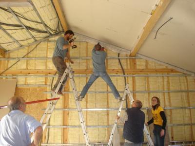 Placo plafond jour construction de notre maison en bois for Plafond design placo