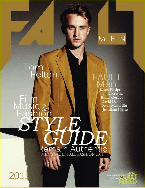 Tom Felton en couverture de 'FAULT MEN'