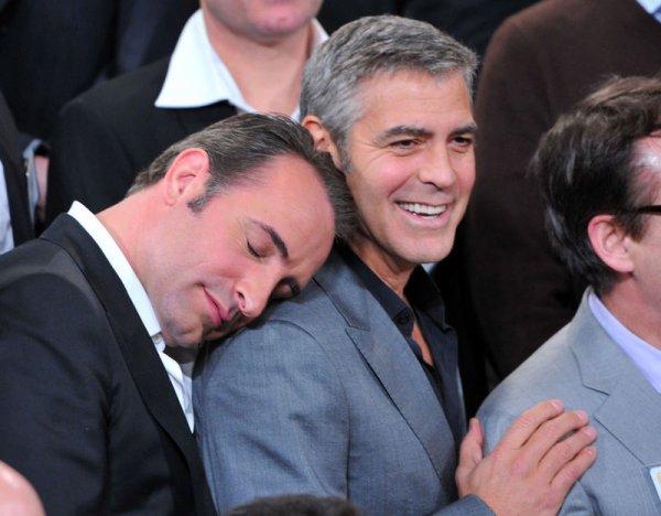 Jean Dujardin et son nouveau pote Georges Clooney...