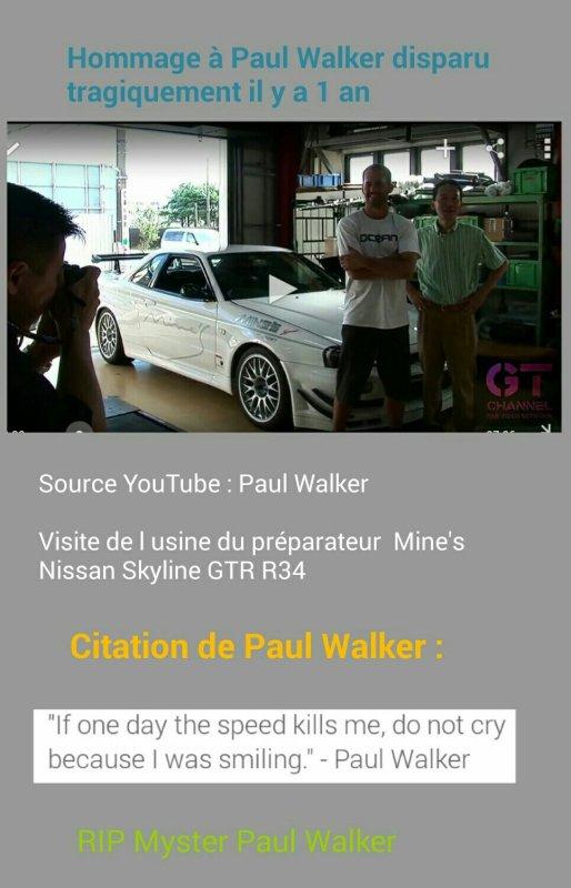 RIP MYSTER PAUL WALKER il y a 1 an aujourd'hui