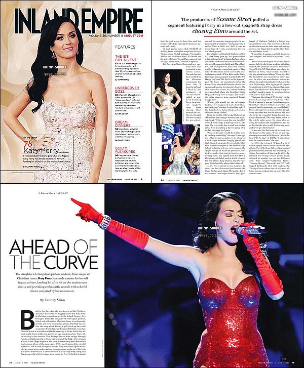 """Katy Perry fait la couverture du magazine brazilien """"Inland Empire"""" du mois Août."""