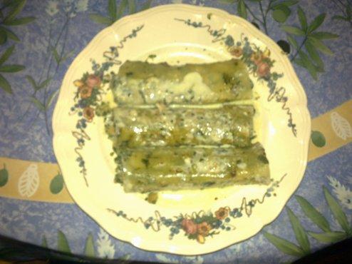 Cannelonni de saumon Aux Epinards et Crème de Basilic