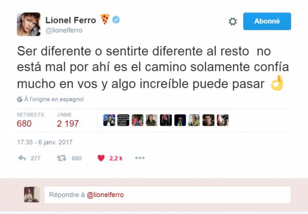 Parole de star - Lionel Ferro sur Twitter